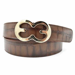 Escada Brown Croc Embossed Leather Dress Belt w/ Warm Silver Buckle sz 40/10