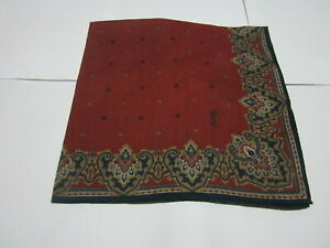 """USED DARK RED  PAISLEY PATTERN COTTON 18"""" HANDKERCHIEF POCKET SQUARE FOR MEN"""