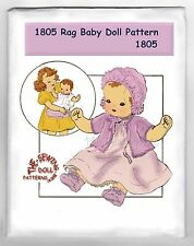 "1805 Baby Rag - cloth Doll w/wardrobe pattern vintage 18"" 3 dimensional Jointed"