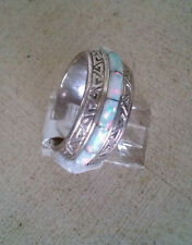 Artisan 925 Fine Sterling Silver White Wide Band Inlay Opal Band Ring Size 7 USA