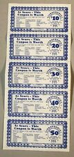 rare SEARS ROEBOCK 5pc LOT 1976 BICENTENNIAL $10-$50 vtg COUPONS attached unused