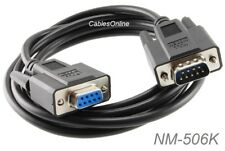 6ft DB9 Null Modem Male/Female Serial Cable, Black - CablesOnline NM-506