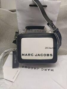 Genuine Marc Jacobs  The Mini Box Bag black white  women crossbody bag sales.