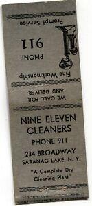 Nine Eleven Cleaners, phone 911, Saranac Lake NY Matchbook bobtail Cover