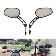 Black 8mm Thread Rear View Mirrors Fit For Harley Softail Slim Dyna FXDF Fat Boy