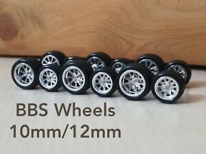 1/64 Scale CUSTOM WHEELS Hot Wheels Rubber Tires BBS Chrome 10mm/12mm 3 Sets