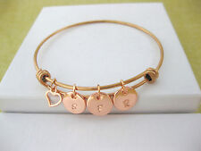 Personalised Rose Gold Tone Bangle Bracelet 1, 2 or 3 Rose Gold Initials & Heart
