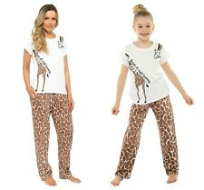 Ladies & Girls Matching Giraffe Cotton T-Shirt Long Pyjama Set Lounge Sleepwear