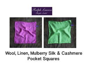 Beautiful Ralph Lauren Purple Label Cashmere & Silk Polka Dot Pocket Squares