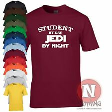 Student by day Jedi by night leaving birthday University Uni Star Wars t-shirt