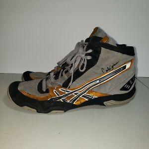 Size 12 Asics Cael Sanderson Gray Gold Black Wrestling Shoes JY700
