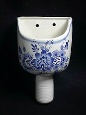 Blue and White Floral Scoop Wall Pocket