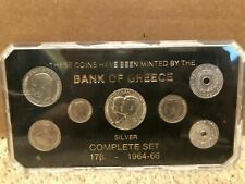 Bank Of Greece 1964-1966 Complete Coin Set In Case Silver Collection World