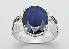 14mm Wide Solid Sterling Silver Genuine Natural 10ct Sapphire Marcasite Ring Sz8