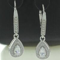 waterdrop White Sapphire Pear Cut Dangle Leverback Earring 925 Sterling Silver