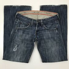 """Kuyichi Womens Jeans Size W25 L32 Sugar Button Fly Flare Distressed 30"""" x 31.5"""""""