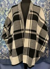 ? BRAND One Size Black White Cape Wrap Shawl Poncho EUC