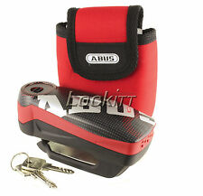 ABUS Detecto 7000 RS1 Pixel Red Alarm Disc Lock Motorcycle Security