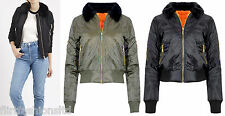 Womens Pilot MA1 Faux Fur Collar Jacket Army Padded Bomber Coat Military Biker