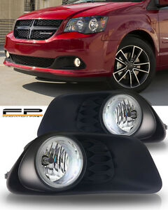 2011-2016 Dodge Grand Caravan Clear Fog Light Lamp Clear Complete Kit W/ Harness