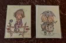 Two Vintage 1970's Hallmark Miniature Gallery Betsey Clark Canvas With Easel