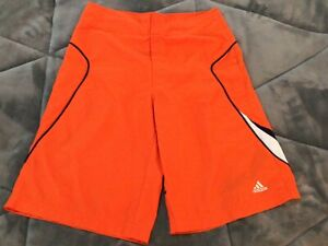 Adidas Mens Swim Shorts Trunks. Size Small  Orange Drawstring Pocket