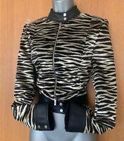Karen Millen Black Beige Zebra Print Velvet & Faux Leather Zip Short Jacket UK10