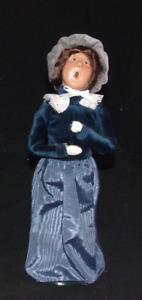 Vintage 1999 Byers Choice Carolers Victorian Shopper Woman In Blue Dress