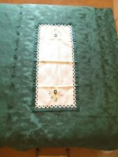 Large CHRISTMAS GREEN TABLE CLOTH + Embroidered RUNNER + CANDLE / FLOWER Design