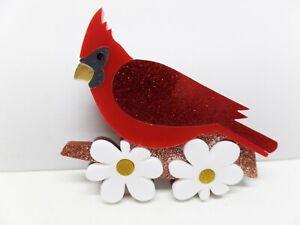 Fabulous Acrylic Cardinal on Branch Brooch