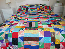 Vintage Style Hand Stitched Multi Coloured Patchwork Quilt Cover Very Unique