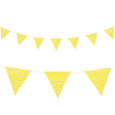 Paper Party Flag Banner Bunting - Yellow and White Polka Dots Party Decorations