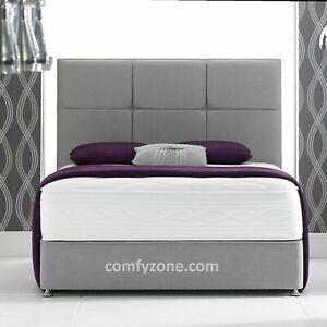 WOOL FABRIC DIVAN BED BASE, DOUBLE, 5ft KING SIZE, STORAGE, TALL HEADBOARD