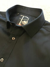 GORGEOUS CHESTER BARRIE BLACK STRIPE WEAVE DOUBLE CUFF SHIRT 16 COLLAR COST £90