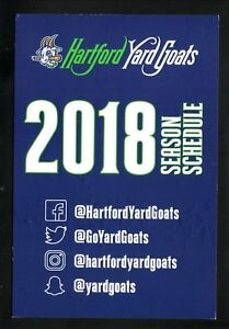 Hartford Yard Goats--2018 Large Card Schedule--Dunkin Donuts--Rockies Affiliate