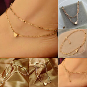 1pc Gold Tone Love Heart Ankle Bracelet Double Layer Chain Sexy Foot Anklet = WM