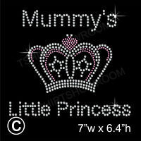 Mummy's Little Princess Rhinestone Transfer Hotfix Ironon Motif with a Free Gift