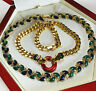 VINTAGE JEWELLERY 1980s BLUE/GREEN/RED ENAMEL GOLD PLATED NECKLACES
