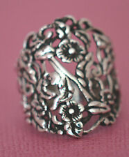 WIDE PLUMERIA FLOWER  Ring All Genuine Sterling Silver.925 Stamped Size 9
