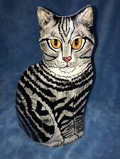 New listing Ceramic Tabby Cat Vase By Nina Lyman White with Black Stripes