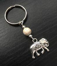 Gorgeous Silver Tone Elephant Keyring/Bag Charm With White Howlite Bead, Gift