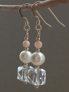 Art Deco Faceted Cube Crystals, Angel Skin Coral & FW Pearls  14ct RG Earrings