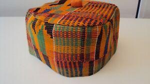 African Ghanian Kente Men's Cap - Orange & Green Multi Hausa Style - 24.5 inches