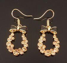 Gold Black Bow Crystal Teardrop Elegant Fashion Jewellery Dangle Earrings
