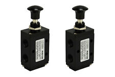 2x Hand Push Pull Pneumatic Air Control Valve 3 Port 3 Way 2 Position 1/4
