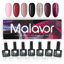 Malavor Gel Nail Polishes Set - 10ml x 7 Gel Colours | Soak Off LED UV Gift Box