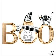 Pegamento Rhinestone Motivo Halloween Boo Brujas Gato Sombrero Diamante transferencia En Hierro