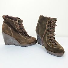 Michael Kors Chukka Boots Ankle Bootie Leather Wedge Heel Brown Size 8M Women