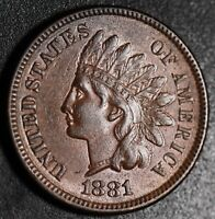 1881 INDIAN HEAD CENT - With LIBERTY & DIAMONDS - Near AU UNC