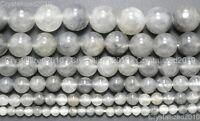 "Natural Grey Cloudy Quartz Gemstone Round Beads 4mm 6mm 8mm 10mm 12mm 15.5"""
